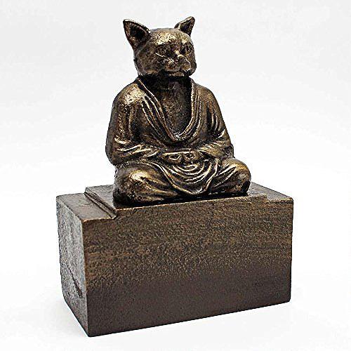 瞑想する猫(ネコ) 面白い彫刻 彫像/ Design Toscano Spirit of Zen Meditating Cat Bookend(輸入品)