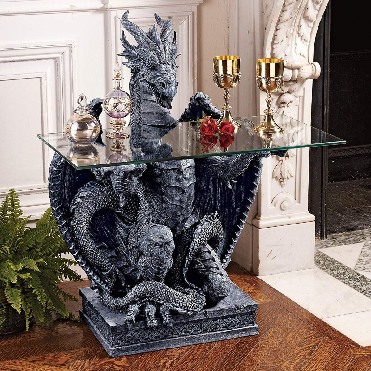 デザイン・トスカノ製 (龍)ドラゴンのガラス製 テーブルトップ 彫刻 彫像/ Design Toscano The Subservient Dragon Glass-Topped(輸入品)
