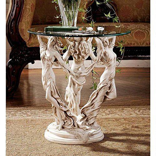ガラステーブルを乗せた、3人のミューズ(女神)彫像 彫刻/ Design Toscano The Muses Glass Topped Sculptural End Table(輸入品)
