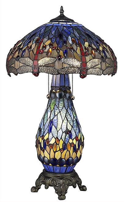 ティファニー・ウエアハウス製 トンボ デザイン テーブルランプ 彫像/Warehouse of Tiffany's Dragonfly Tiffany-Style Table Lamp(輸入品)