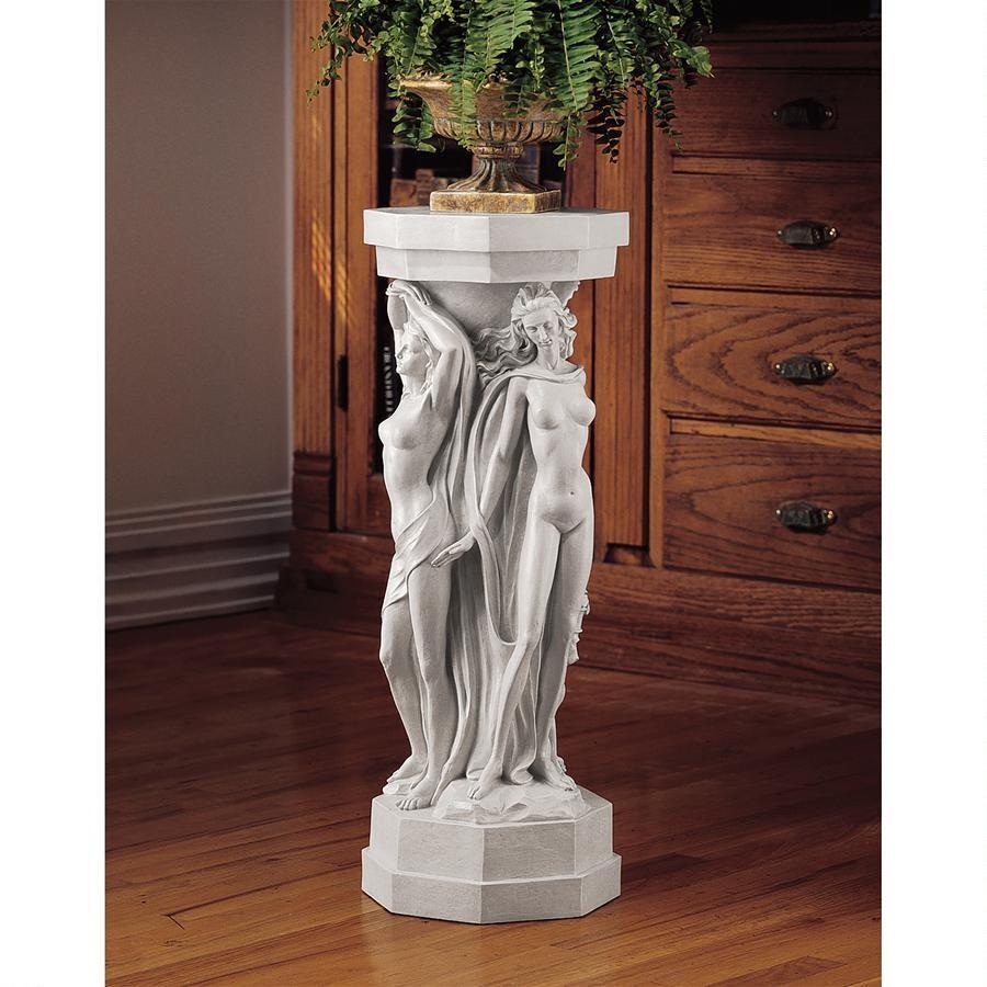 デザイン・トスカノ製 古代ギリシア女性(巫子)像多角柱(円柱) コラム テーブル花台 台座 彫刻 彫像(輸入品)