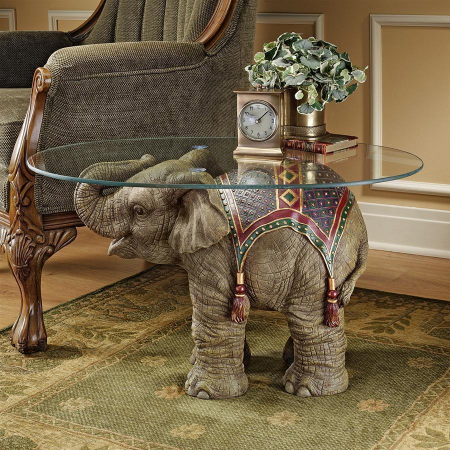 エキゾチックなアフリカ象 ガラストップ テーブル 動物彫刻 彫像 置物/ Royal Exotic African Elephant Glass Top Table(輸入品)
