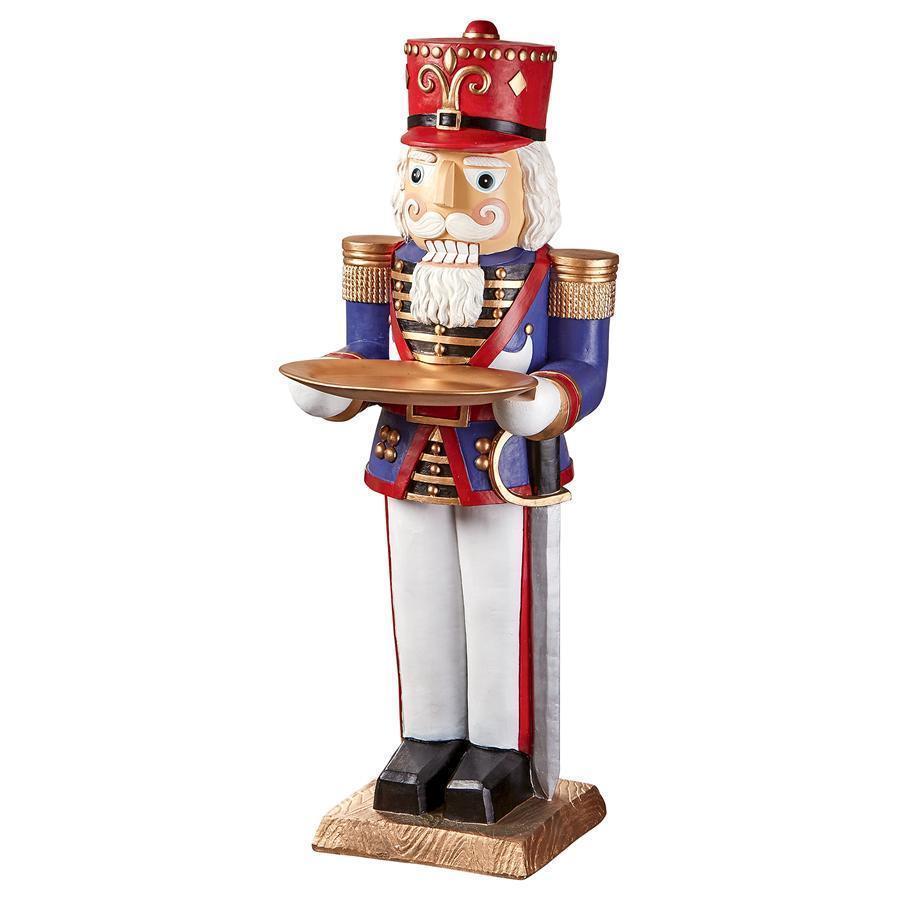 デザイン・トスカノ製 クリスマスデコレーション - くるみ割り人形 おもちゃの兵士 バトラー(給仕) ホリデー台座テーブル 彫像 彫刻(輸入品)