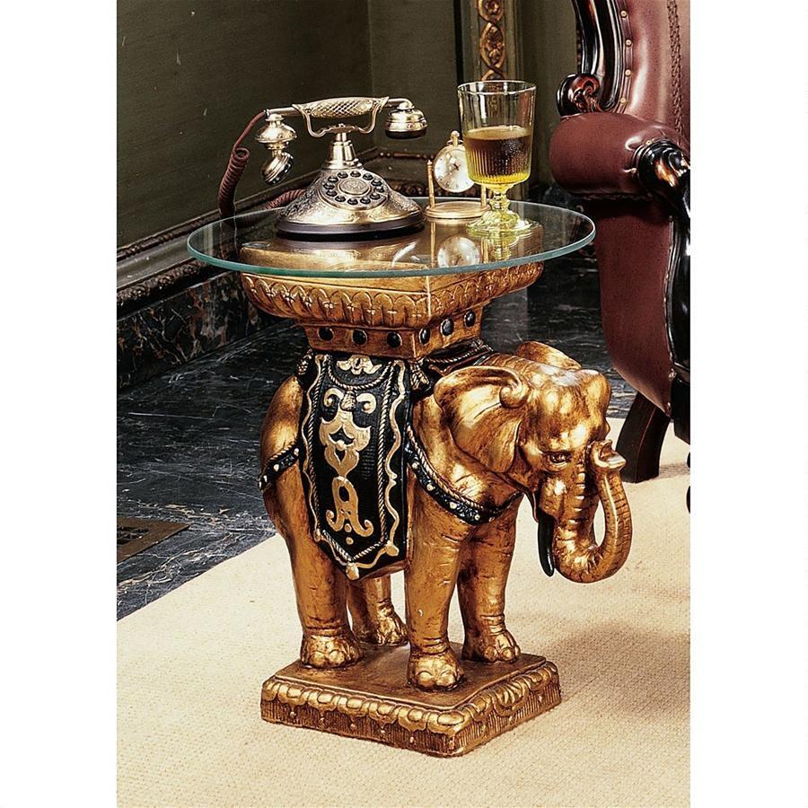 デザイン・トスカノ製 インド風 マハラジャ 象(エレファント)装飾 ガラストップ サイドテーブル、高さ 約56cm ブラック&ゴールド彫像(輸入品)