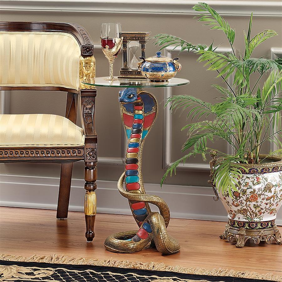 デザイン・トスカノ製 古代エジプト コブラの女神 レネネト神 台座 ガラス・トップ テーブル 彫像、彫刻(輸入品)