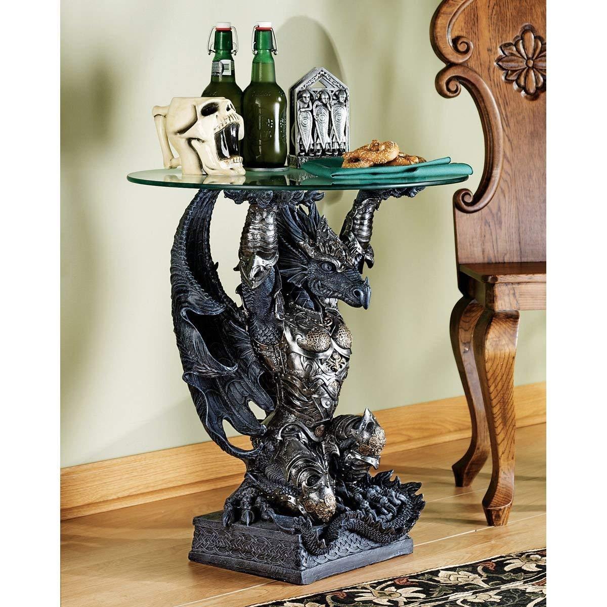 デザイン・トスカノ製 ガラス テーブルトップ ヘイスティングス戦士ドラゴン 彫刻 彫像(輸入品)