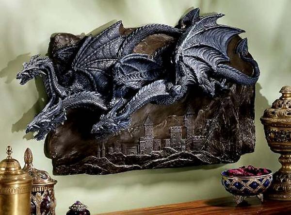 ゴシック風 モルゴス城のドラゴン 壁彫刻 装飾 彫像/ Design Toscano Morgoth Castle Dragons Wall Sculpture[輸入品)