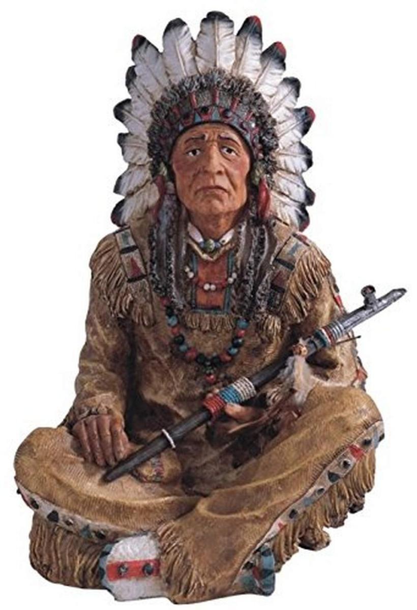 StealStreet製 喫煙パイプを持った、ネイティブアメリカン(インディアン酋長)、彫像 彫刻 高さ 約35cm(輸入品
