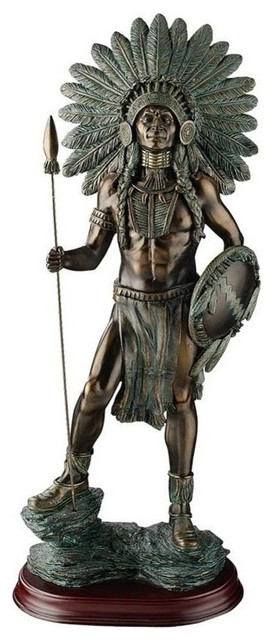 デザイン・トスカノ製 誇り高き、インディアン戦士(酋長)の彫刻 インテリア彫像置物(輸入品)