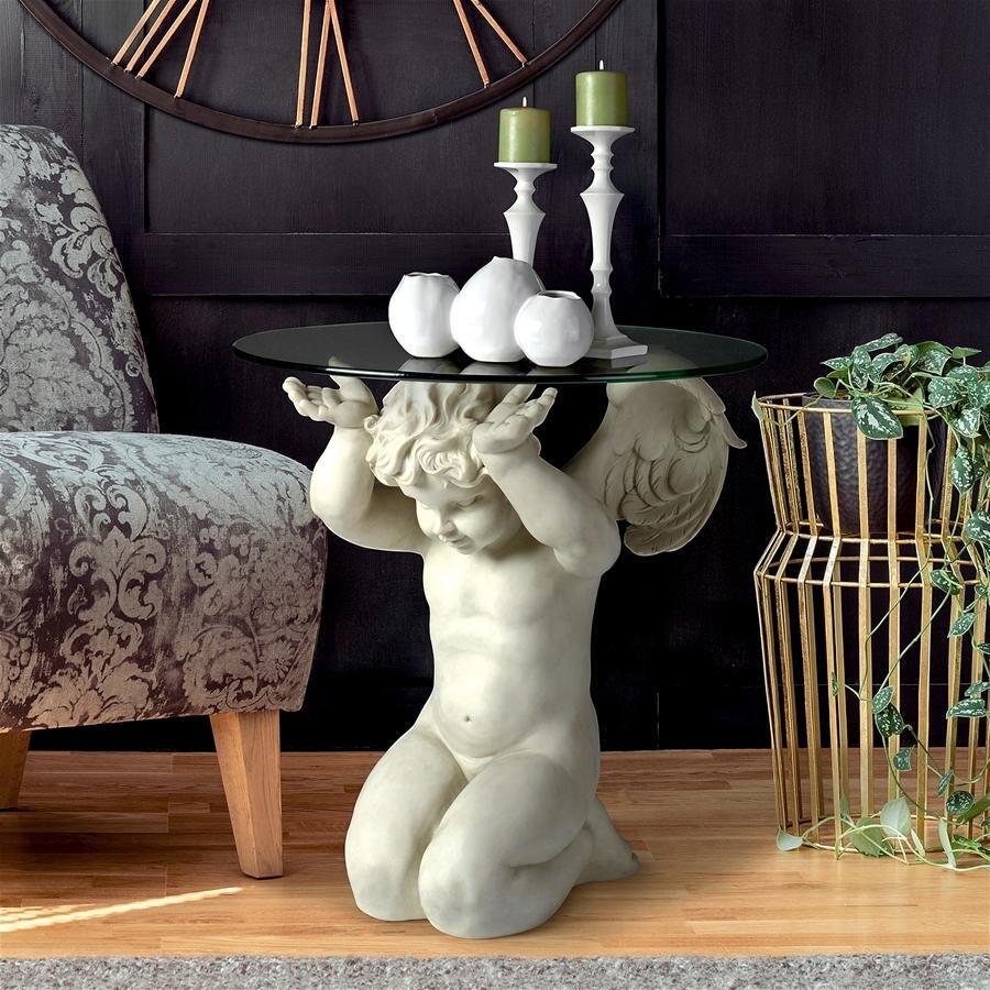 デザイン・トスカノ製 子供の智天使(ケルビム)台座彫刻の、ガラス張りテーブル 彫像(輸入品