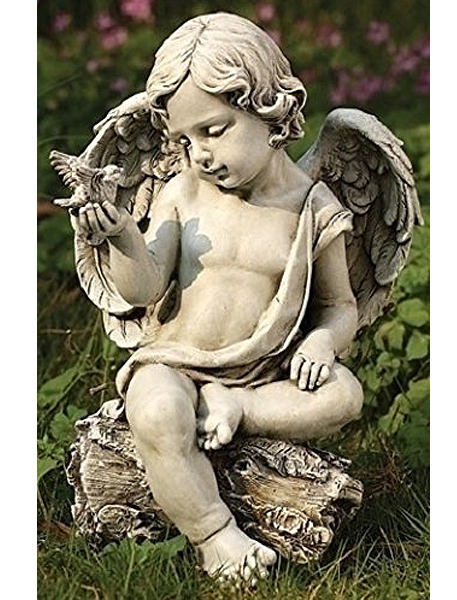 鳩と天使(ケルビム)ガーデン彫刻 彫像/ Cherub with Dove Statue(輸入品