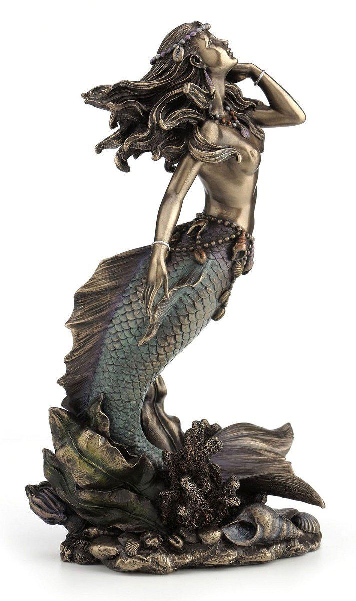 海から立ち上がる美しい人魚(マーメイド) ブロンズ風 彫像 置物/ Beautiful Mermaid Rising from Sea Statue Sculpture(輸入品
