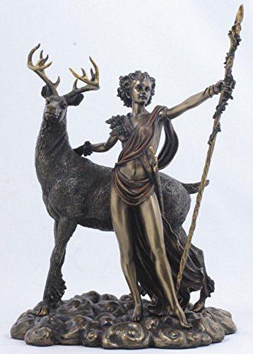 古代ギリシャの女神 ダイアナ・アルテミス 月の女神 彫刻 彫像 高さ26cm/ Greek Goddess Diana Artemis and Moon Statue (輸入品)