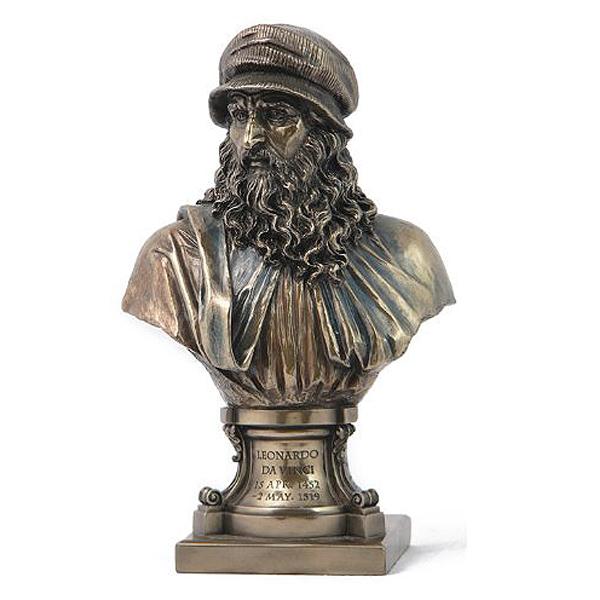 イタリアのルネッサンスの巨匠 レオナルド・ダ・ヴィンチ(ビンチ) ブロンズ風 胸像 彫像 彫刻(輸入品)