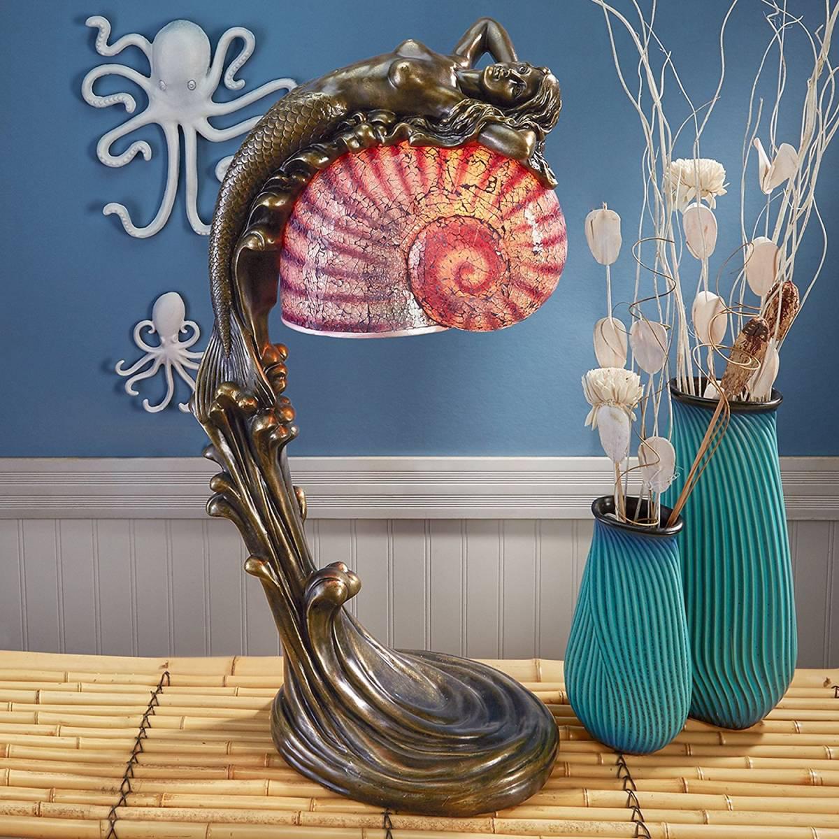 アールデコ風 海のサイレン マーメイド(人魚)イルミネーション ランプ彫刻 彫像/ Siren of The Sea Mermaid Art Deco Illuminated (輸入品)
