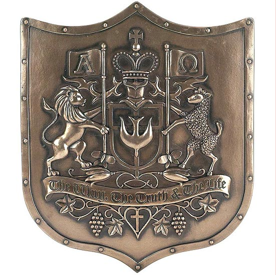 キリスト教団の紋章 壁彫刻 彫像/The Way Truth Life Lion Lamb Bronzetone Shield Decorative Hanging Wall Plaque(輸入品)