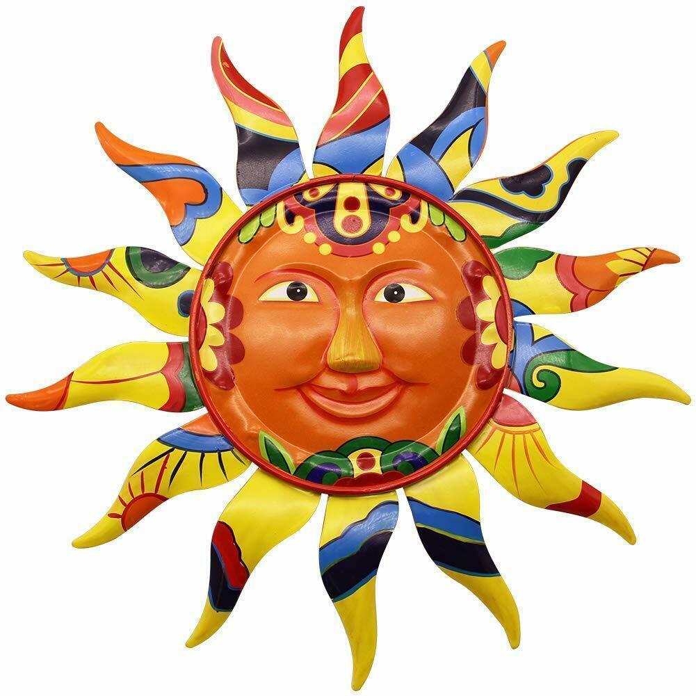 屋内屋外でのホーム・ガーデン用 金属製の太陽 デザイン壁掛け装飾 彫刻 彫像(輸入品)