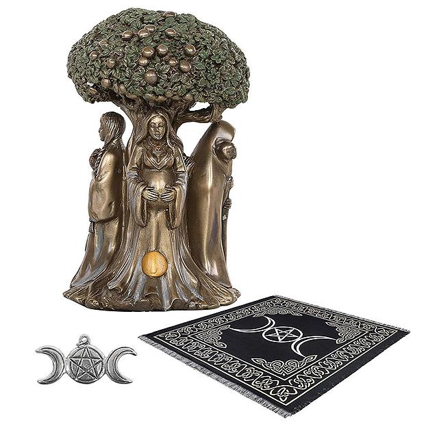 祭壇用タロット布 生命の木と女神像 高さ 約14cmブロンズ風 ウィッカ(魔女術)用品 トリプル・ムーン 五芒星ペンダント 祭壇用品キット