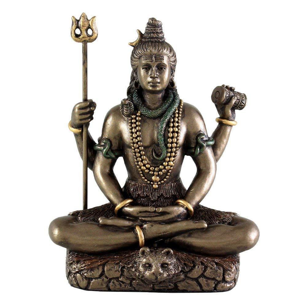 トップコレクション製 ヒンドゥー教の主神 瞑想するシヴァ神(吉祥神) 世界の創造、維持、再生を司る最高神 ブロンズ風(輸入品)