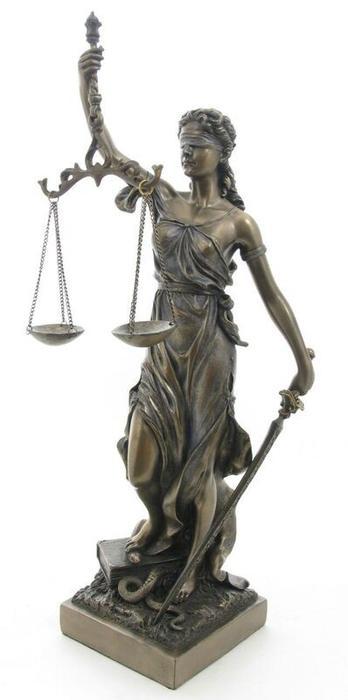 正義の女神 テミス(テーミス)彫像 ブロンズ風 彫刻 ヴェロネーゼ製 高さ 約32cm(輸入品
