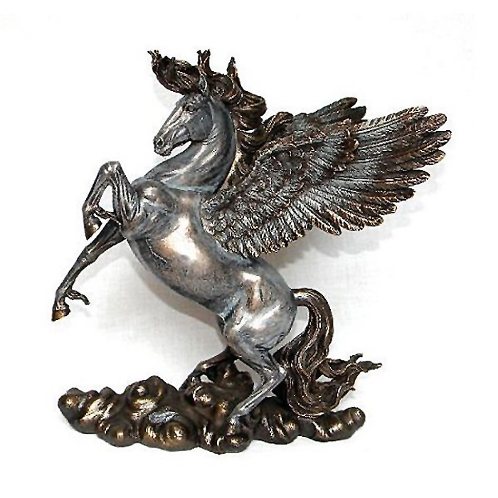 Winged Nude Male Kneeling Statue Figurine Cold Casting with Bronze Powder and Resin Unicorn
