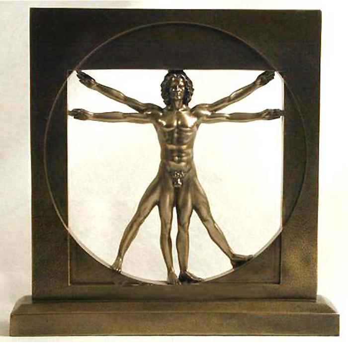 レオナルドダ・ヴィンチによる男性ブロンズ彫像「ウィトルウィウス的人体図」高さ約21.6cm