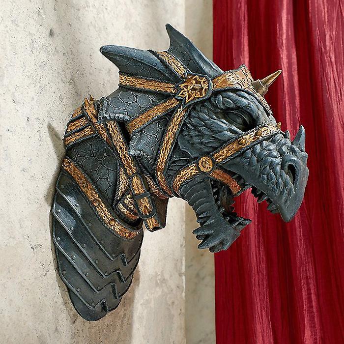 西洋彫刻 ファンタジー幻獣 オブジェ 戦闘 ドラゴン壁オブジェ彫像/ War Dragon Wall Sculpture 輸入品