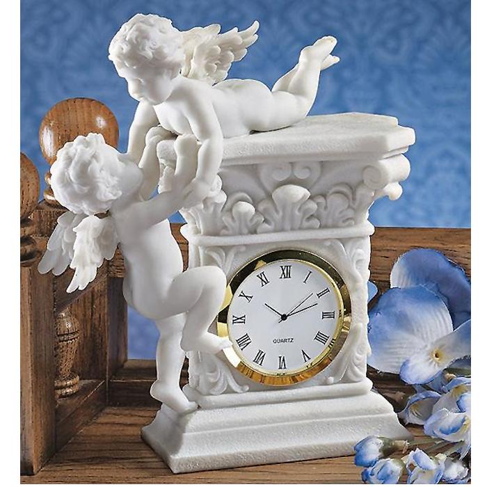 バロック風 2人のケルビム(智天使)置き時計 彫刻 彫像(輸入品)