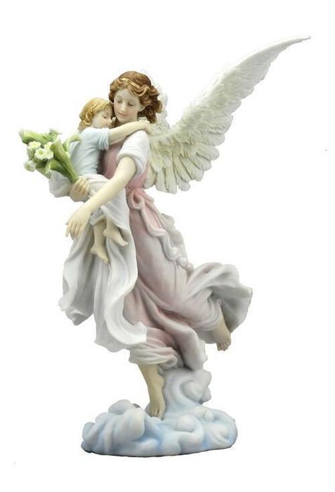 赤ちゃんを抱いた、守護天使 彫像 カトリック フィギュア 彫刻 ヴェロネーゼ製 高さ 約28cm(輸入品)