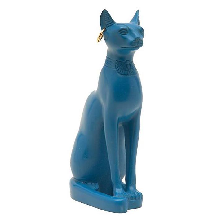 バステト神 猫神 彫像 彫刻 エジプト製/ Bastet Cat Statue (Blue) - Made in Egypt(輸入品)