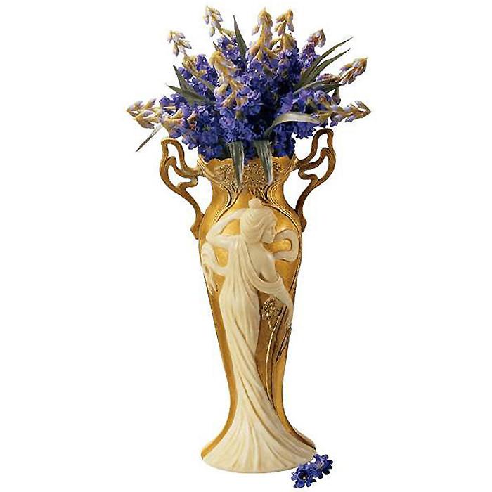 19世紀アールヌーボー調 アイボリーとゴールドの葉であしらわれた花瓶 女性彫刻 置物美術/Faux Ivory and Gold Leaf Vase(輸入品