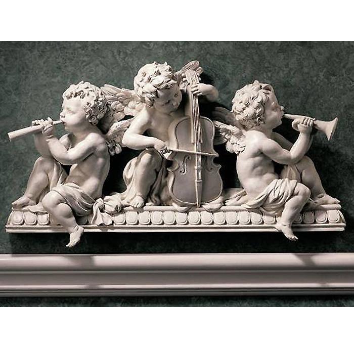 洋風彫刻 演奏する天使達 ウォールペディメント 彫像/ Angelic Notes Sculptural Wall Pediment[輸入品