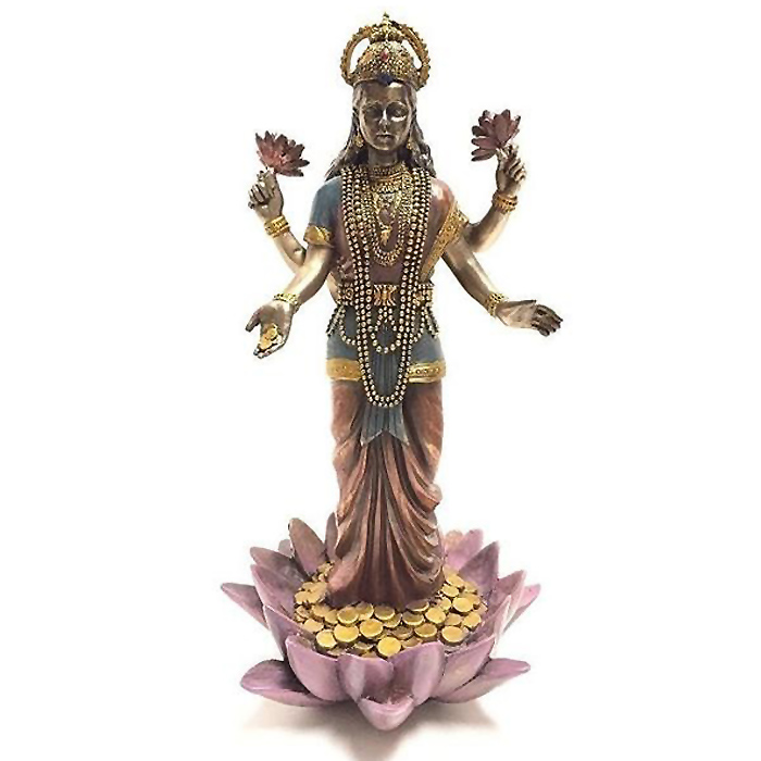 幸運の象徴 吉祥天 蓮の上のラクシュミー 彫像 ヒンズー神/ Lakshmi Hindu Goddess on Lotus Statue Sculpture[輸入品