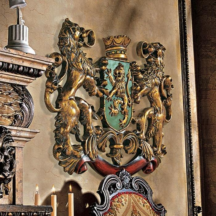 オーナメント壁彫刻 装飾 王家のライオン 紋章 彫像/ Heraldic Royal Lions Coat of Arms[輸入品