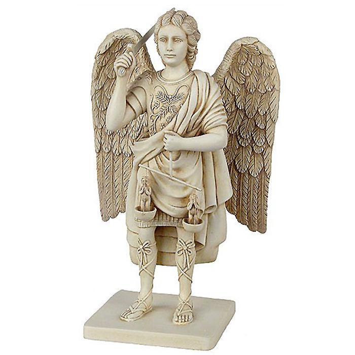正義を計る 守護天使(大天使) ミカエル 彫像 彫刻 高さ 約22cm/ Archangel Michael Figure with the Scales of Justice,(輸入品