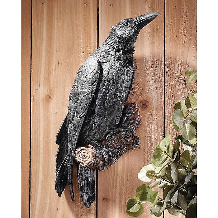 止まり木に止まるカラス 壁掛け彫刻 鳥自然オブジェ 彫像/ The Raven's Perch Wall Sculpture(輸入品