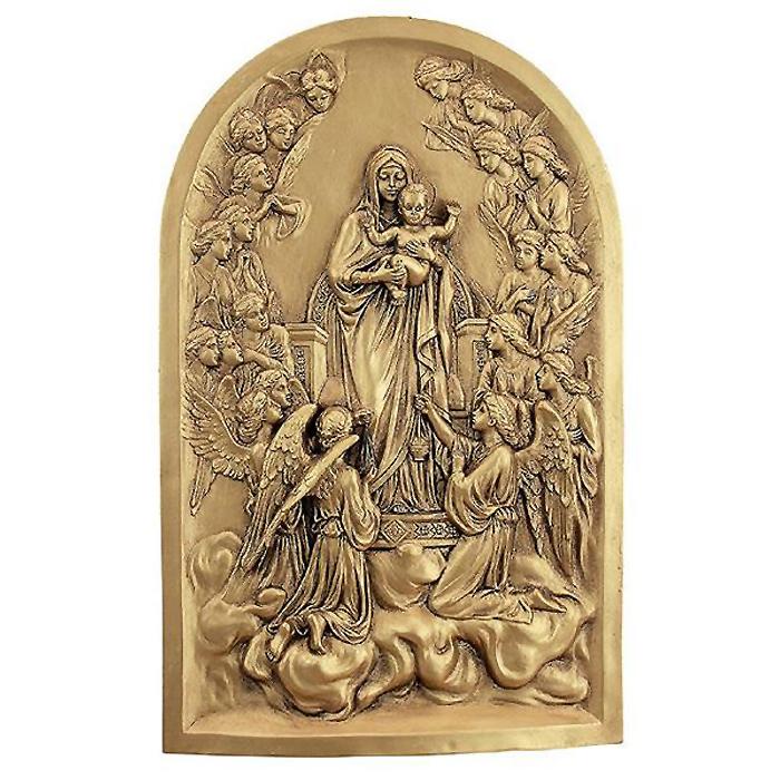 聖母子と天使達 聖母マリアと天使の壁彫刻 彫像/ The Virgin Mary with Angels Wall Sculpture(輸入品