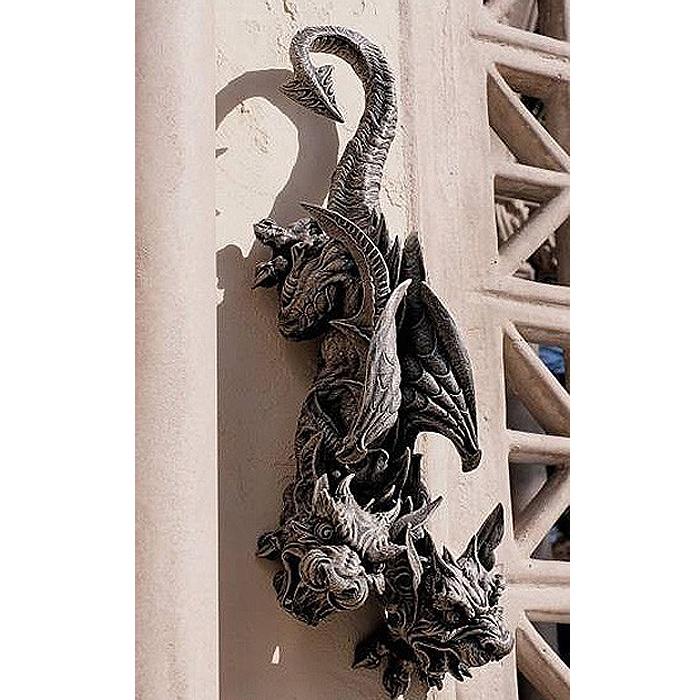 双頭のドラゴン・ガーゴイル彫像 壁掛け彫刻 ディスプレイ 彫刻(輸入品