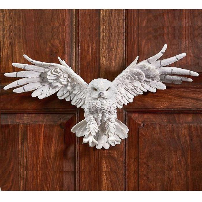 デザイン・トスカノ製 神秘的な妖精 白フクロウ(梟)の壁彫刻 彫像/ Mystical Spirit Owl Wall Sculpture(輸入品