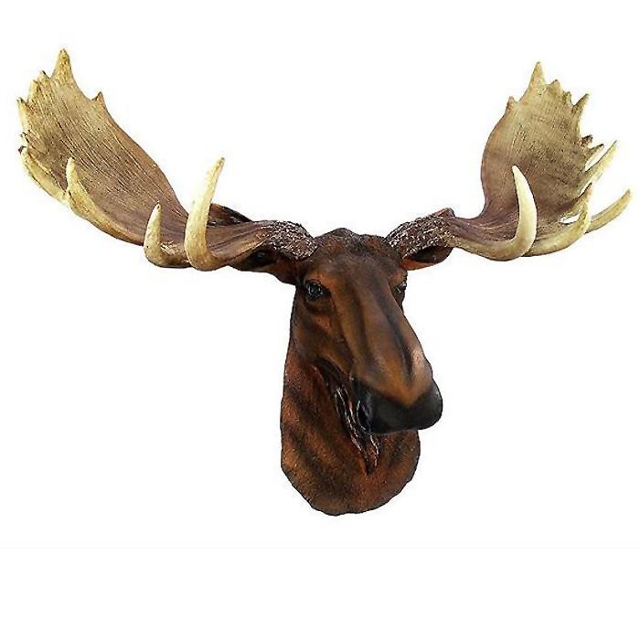 北米大陸のヘラジカ (ムース) 頭部 壁掛け彫刻 彫像 / North American Moose Head Bust Wall Hanging (輸入品