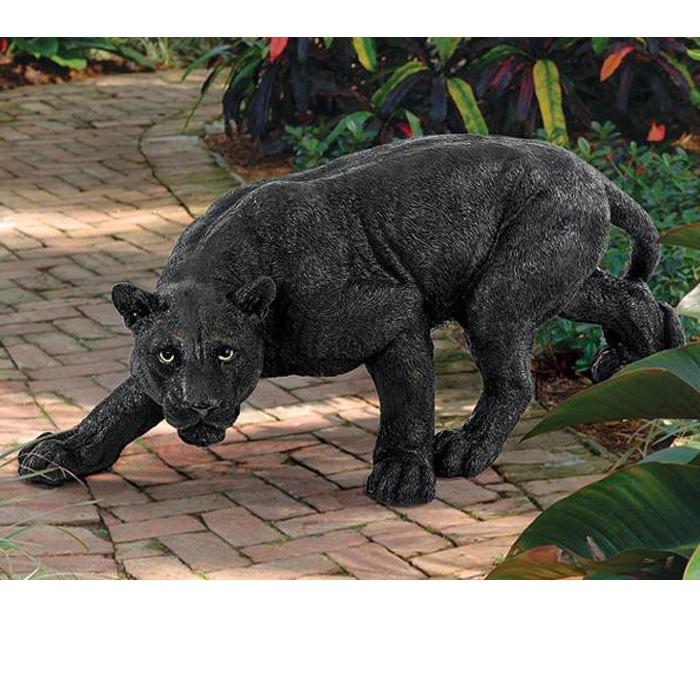 黒豹 ブラックパンサー ガーデン彫像 ピューマ シャドウプレデター// Shadowed Predator Black Panther Garden Statuee[輸入品