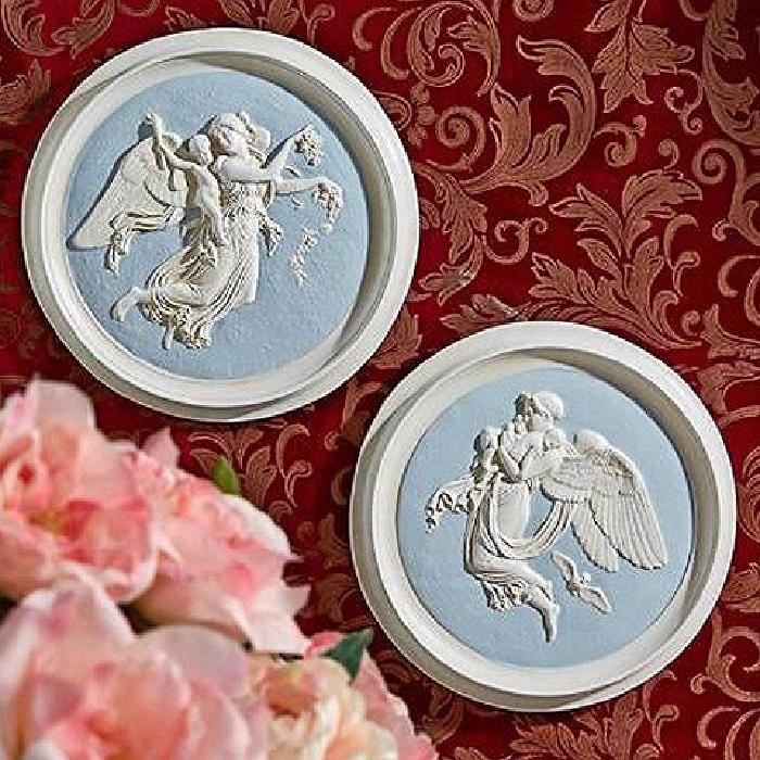 【お得】 朝と夜の天使の丸形 壁彫刻 彫像(1815年)彫刻家 ベルテル・トルバルセン作(1768-1844);2つセット 壁彫刻 壁彫刻 彫像(輸入品, 蒲郡市:a25e5d4a --- canoncity.azurewebsites.net