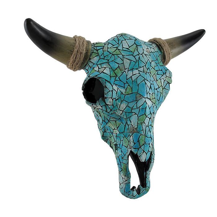 モザイク ターコイズ スティア(牡牛) 頭蓋骨の壁掛け彫像/ Mosaic Turquoise Steer Skull Wall Hanging(輸入品