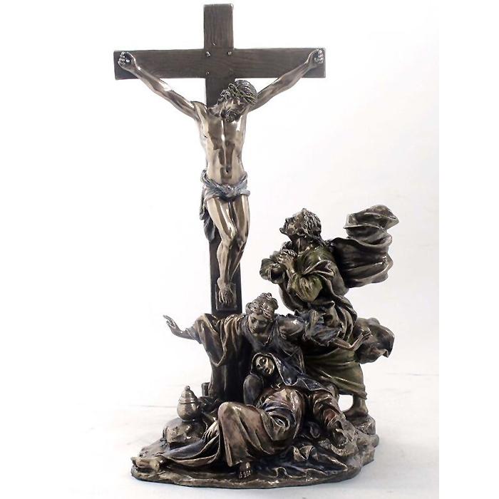 イエス・キリストの磔刑 ブロンズ風 彫像 彫刻 ヴェロネーゼ製/ CRUCIFIXION Bronzed Finish Statue Jesus Christian(輸入品