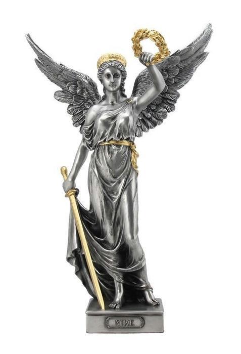 古代ギリシア 剣と花輪を持った、勝利の女神 ニケ ピューター風 彫像 彫刻 ヴェロネーゼ製 高さ 約35cm(輸入品