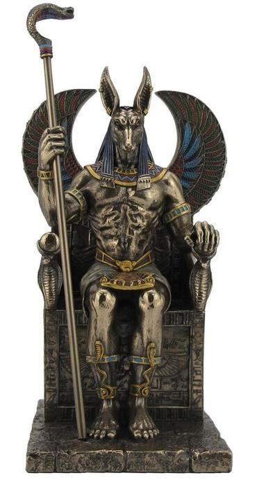 古代エジプト 王座に座る、アヌビス神 ブロンズ風 彫像 彫刻 ヴェロネーゼ(輸入品)