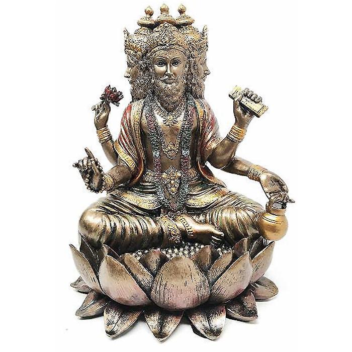 ヒンドゥー教 創造神 蓮の王座に座る ブラフマー神 彫刻 インド宗教神話 仏像 彫像/ Cosmic Soul Hindu Deity Brahma Brahman (輸入品