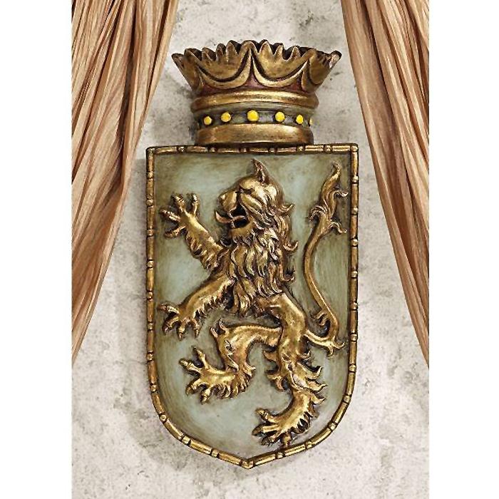 中世イングランド王の紋章 ライオンの楯形 彫刻 ライオンが後足で立ち上がった紋章(王室紋章)獅子の盾 壁彫刻 彫像(輸入品
