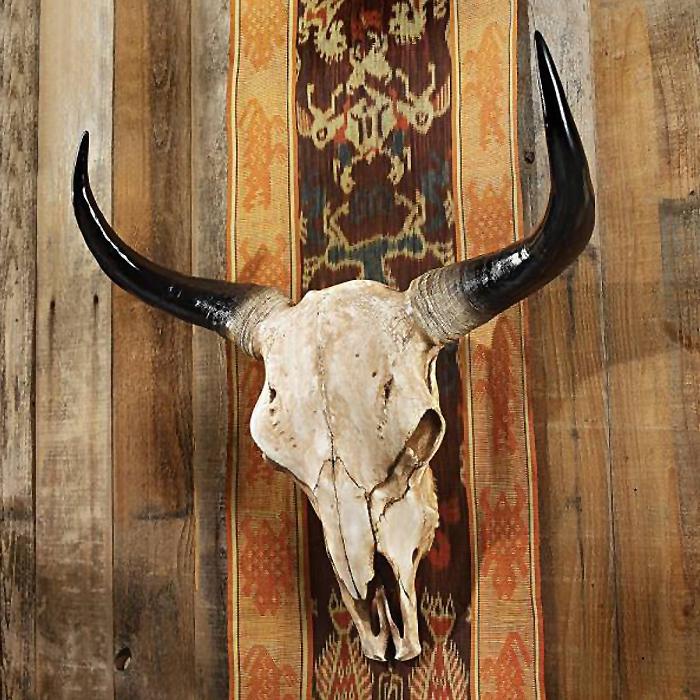 北米アメリカ ロングホーンスカル(牡牛頭骨レプリカ ))ハンティング・トロフィー ウエスタン風オブジェ壁掛け 剥製 骨標本 彫像 オールドウエスト(輸入品