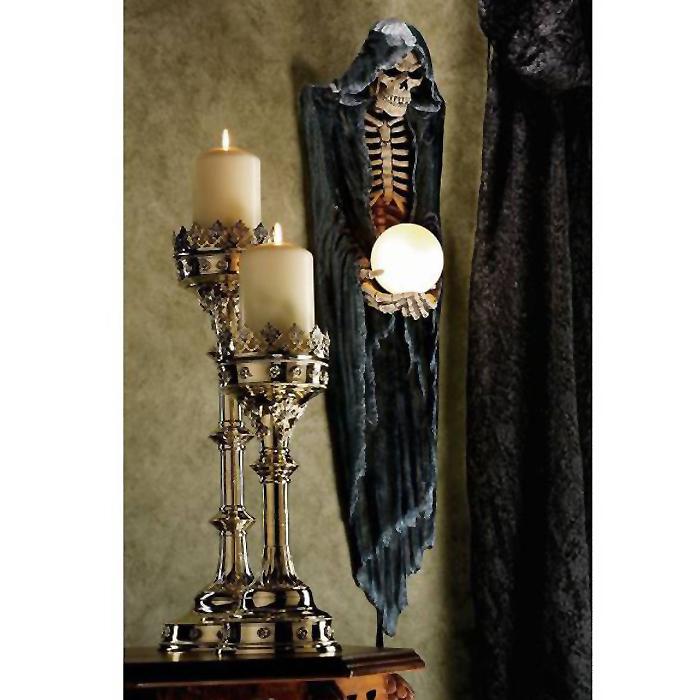 恐ろしい 死神の壁掛け用ライト(ランプ) 骸骨インテリア雑貨 ゴシック調 壁彫刻 彫像/ The Grim Reaper Illuminated Wall Sculpture(輸入品